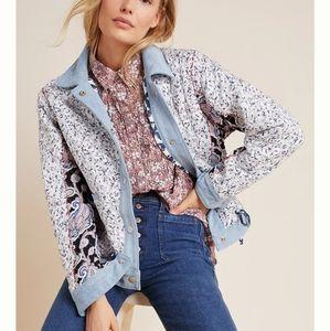Denim-Trimmed Reversible Patchwork Jacket